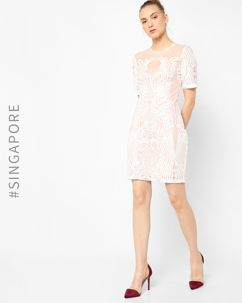 Sheer Embroidered Sheath Dress By MDS ( Offwhite )