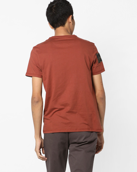 Crew-Neck T-shirt With Appliqué Patches By AJIO ( Rust )