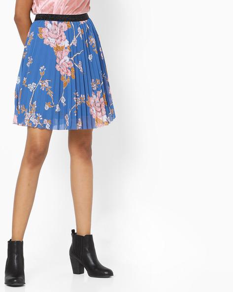 Floral Print Skirt With Pleats By SAINT TROPEZ ( Blue )