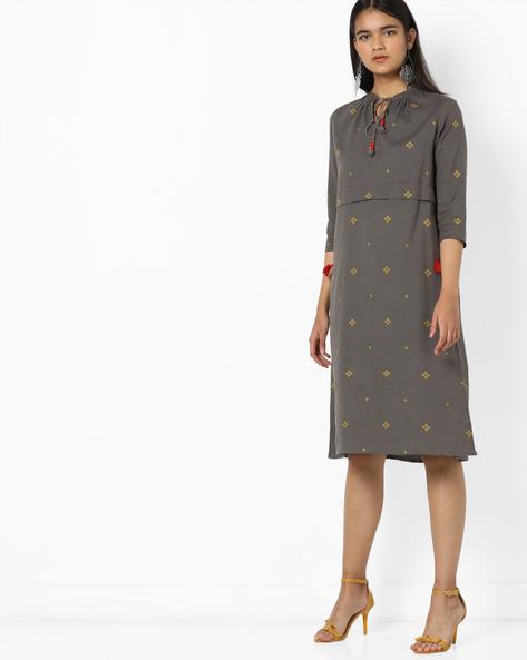 Geometric Print Shift Dress With Tie-Up Detail By AJIO ( Grey )