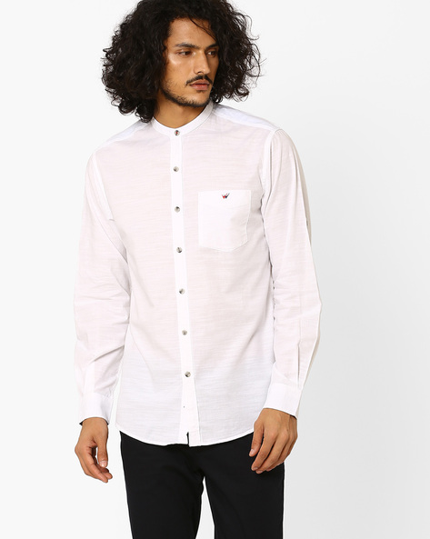 Slim Fit Cotton Shirt With Band Collar By Wills Lifestyle ( White )