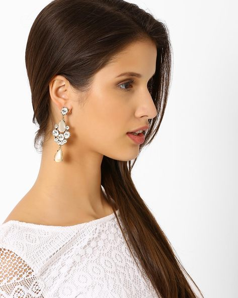 Embellished Drop-Earrings By Style Fiesta ( Beige )
