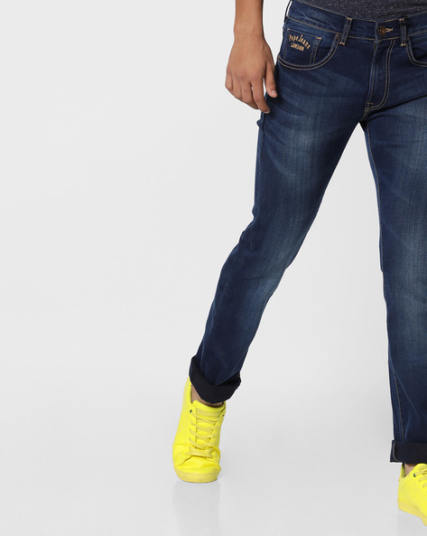 Lightly Washed Slim Fit Jeans By Pepe Jeans ( Darkblue )
