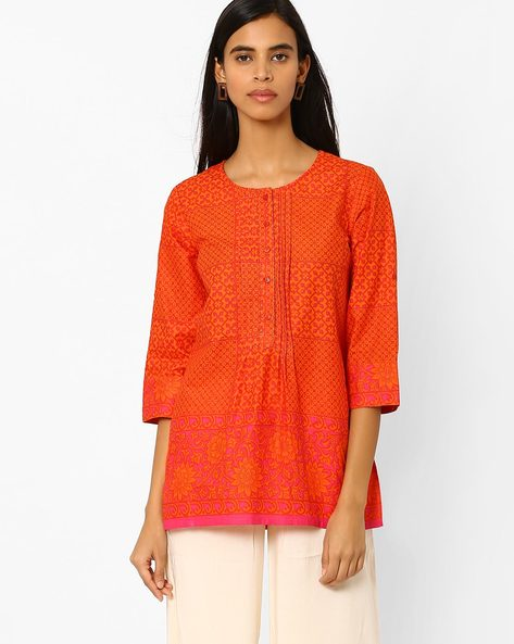 Floral Print Top By Akkriti By Pantaloons ( Orange )