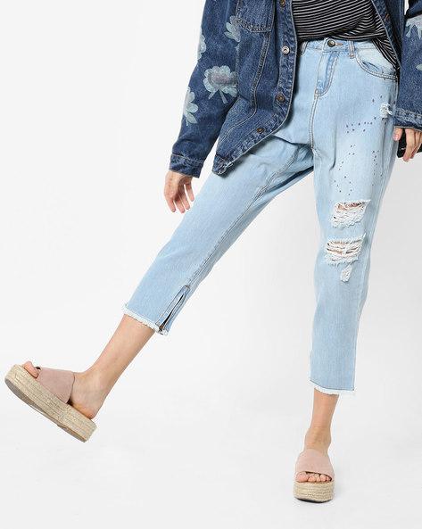 Distressed Jeans With Frayed Hems By AJIO ( Lightblue )