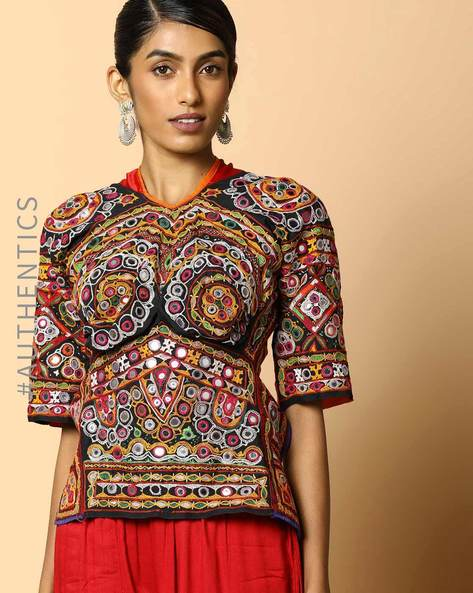 Kutch Embroidered Backless Blouse By Indie Picks ( Multi ) - 460103653001