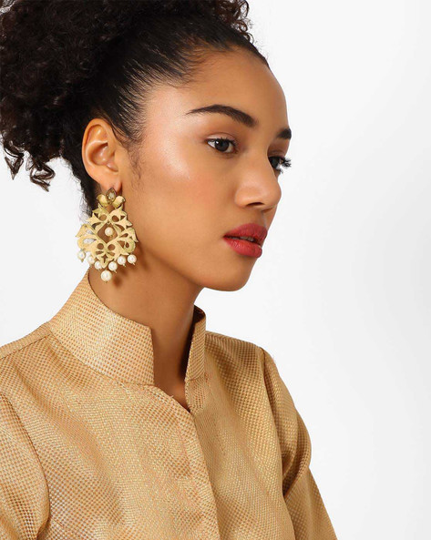 Beaded Drop Earrings With Cut-Out Detail By Fida ( Gold )