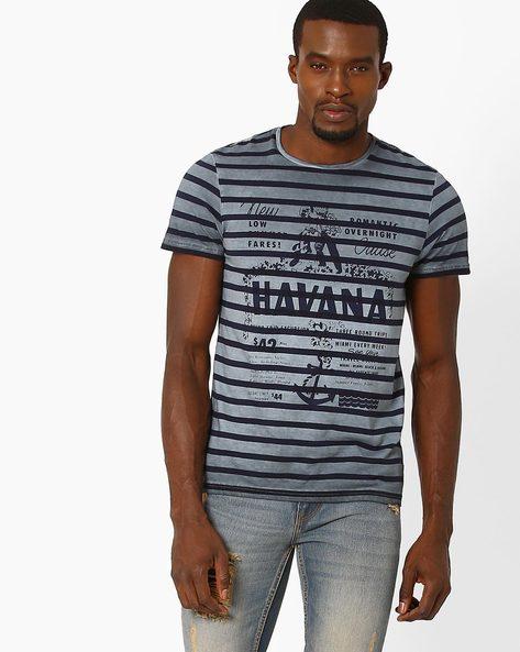 Graphic Print Striped T-shirt By AJIO ( Grey )