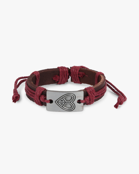Bracelet With Metallic Accent By ALPHA MAN ( Maroon )