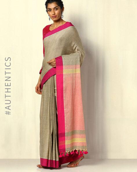 Handloom Bengal Cotton Herringbone Saree With Tassels By Indie Picks ( Beige ) - 460107152001