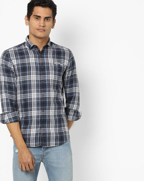 Checked Shirt With Patch Pocket By ED HARDY ( Blue )