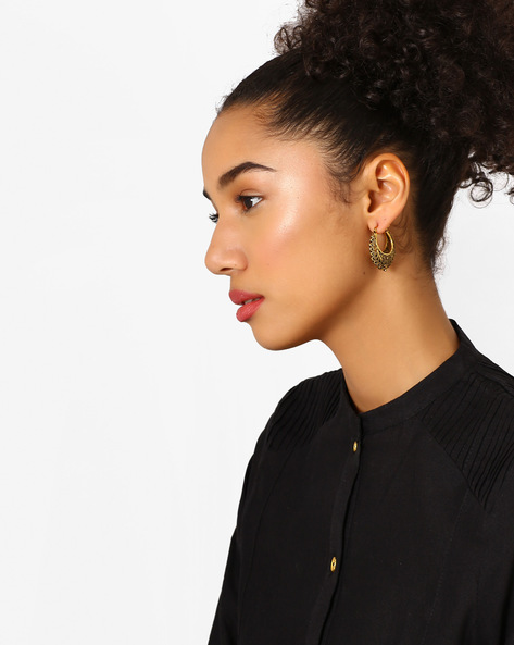 Hoop Earrings With Lever-Back Closure By Fida ( Gold )