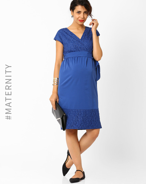 Empire-Waist Maternity Dress By AJIO ( Blue )