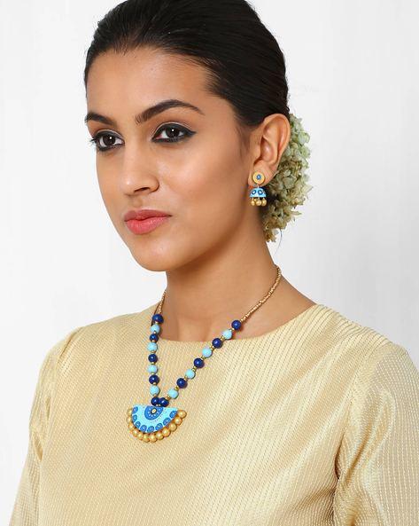 Handmade Terracotta Necklace Set By Kalamayi ( Blue )