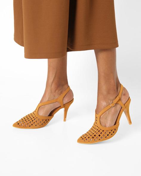 Stilettos With Laser-Cut Detail By AJIO ( Camel )