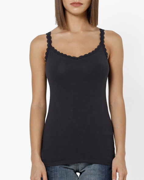 Camisole With Scalloped Lace Trim By Marks & Spencer ( Indigo )