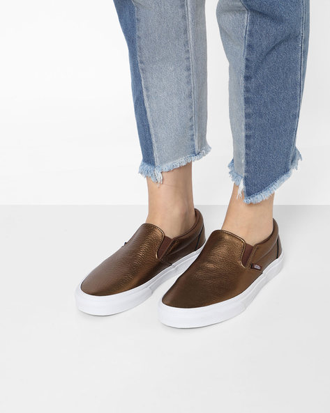 Low-Top Classic Slip-Ons By Vans ( Brown )
