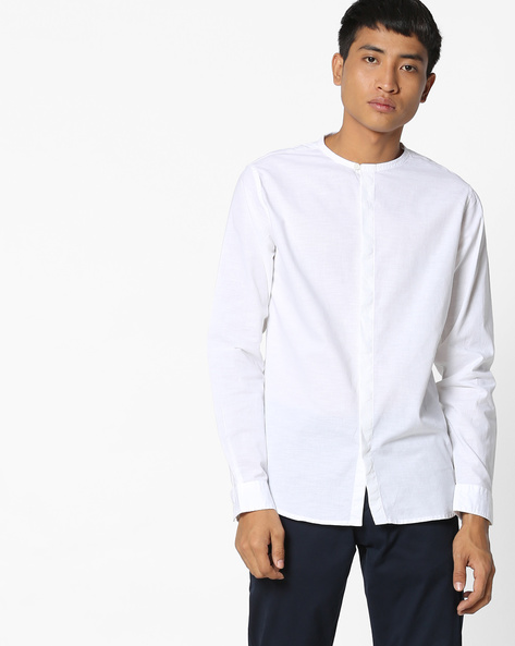 Shirt With Band Collar By AJIO ( White )