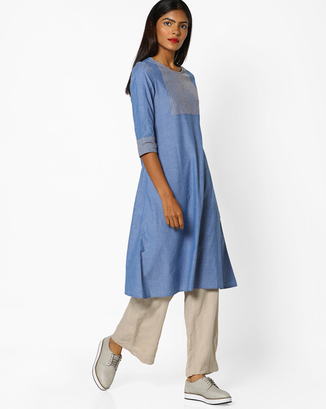 A-line Kurta With Contrast Stitch Detail By AJIO ( Navyblue )