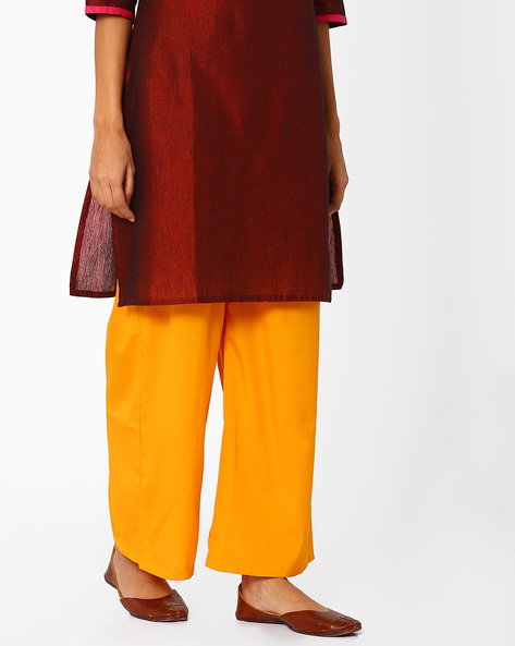 Palazzos With Elasticated Waist By AURELIA ( Yellow )