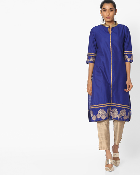 Straight Kurta With Contrast Taping By KIRA ( Blue )
