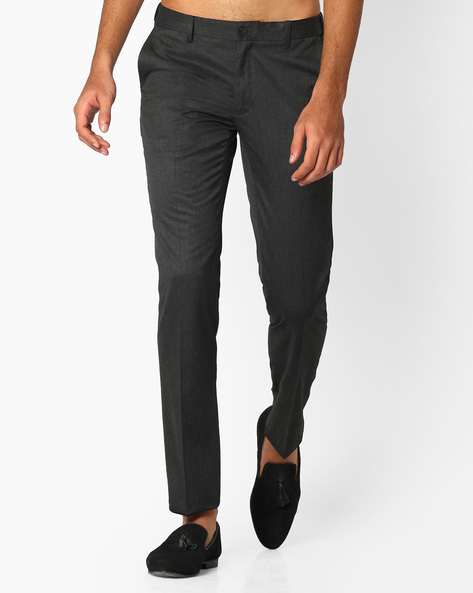Slim Fit Flat-Front Trousers By NETWORK ( Charcoal ) - 440723715001