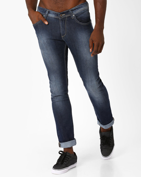 Lightly Washed Skinny Fit Jeans By SPYKAR ( Dkblue ) - 460032239004