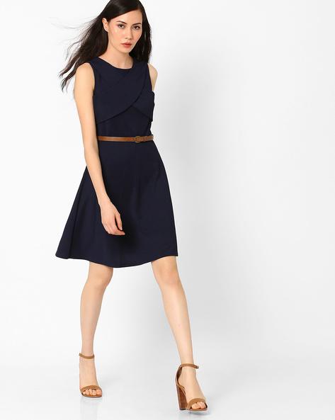 Sleeveless Belted Dress By Vero Moda ( Navy )