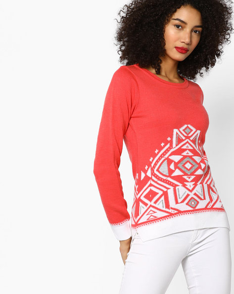 Crew-Neck Pullover With Vented Hemline By Fame Forever By Lifestyle ( Coral )