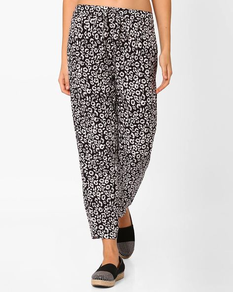 Printed Trousers With Drawstring Waist By AJIO ( Black )