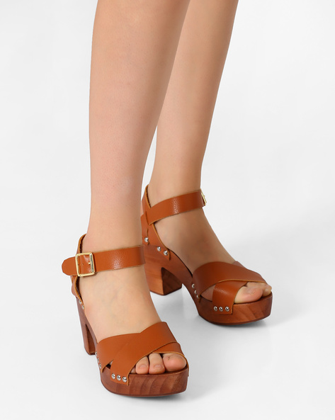 Chunky Heels With Criss-Cross Strap By AJIO ( Tan )