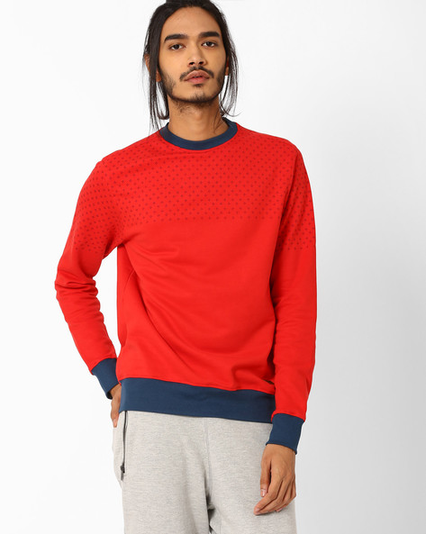 Printed Kint Slim Fit Sweatshirt By Blue Saint ( Red )