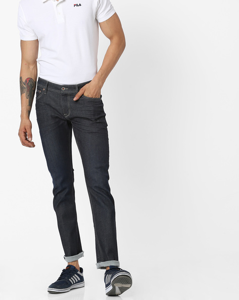 Lightly Washed Slim Fit Jeans By Celio ( Blue )