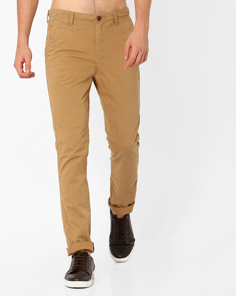 Mid-Rise Cotton Chinos By NETPLAY ( Khaki )