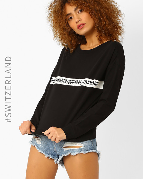 Printed Sweatshirt With Drop Shoulders By TALLY WEiJL ( Black )