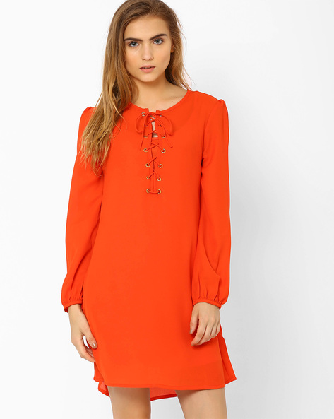 Shift Dress With Lace-Up Detail By RIDRESS ( Orange )