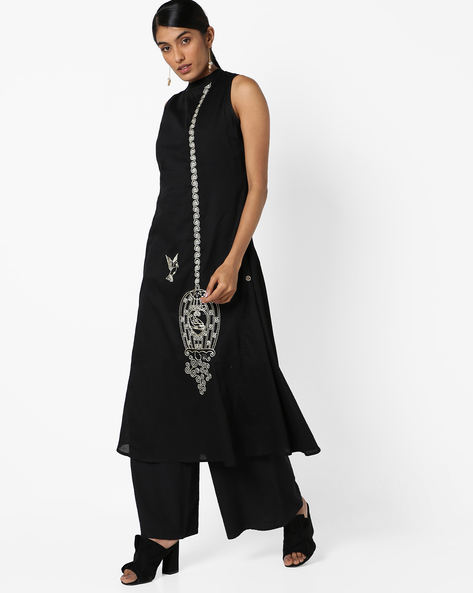 Sleeveless A-line Dress With Embroidery By Jaipur Kurti ( Black )