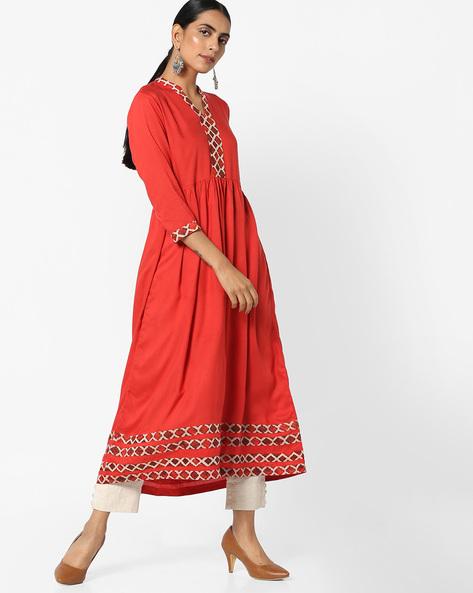 A-line Midi Dress With Pleated Waist By AJIO ( Red )