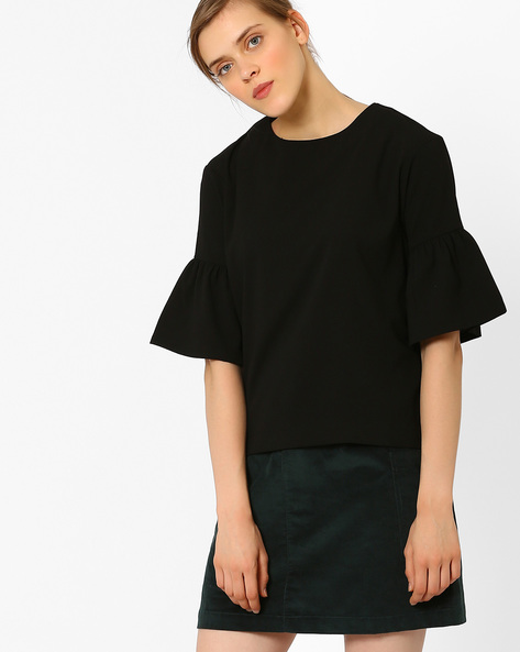 Crew-Neck Top With Flounce Sleeves By AJIO ( Black )