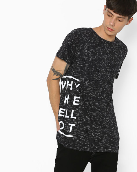 Slim Fit Longline T-shirt By ADAMO LONDON ( Black )