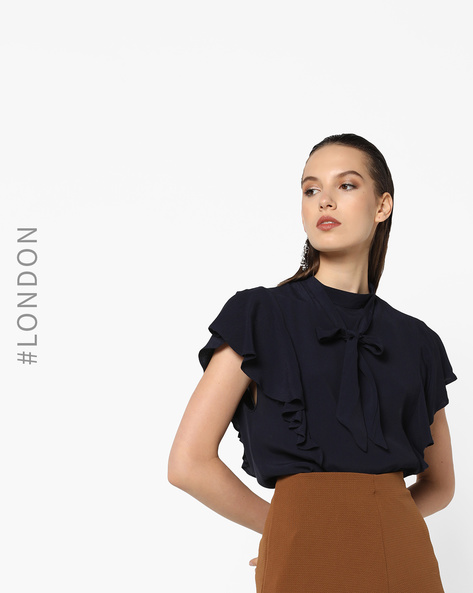 Tie Collar Top With Flutter Sleeves By Closet London ( Navy )
