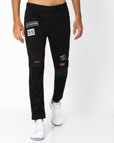 Knee-Rip Skinny Jeans By ADAMO LONDON ( Black )
