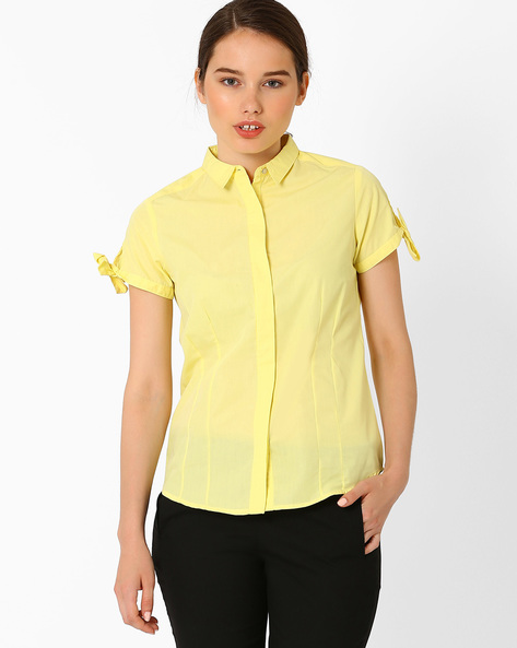 Shirt With Tie-Ups By Annabelle By Pantaloons ( Yellow )