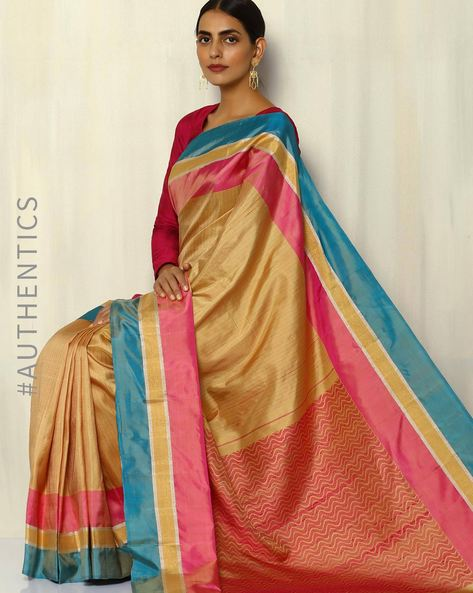 Handloom Tanka Stripe Pure Silk Saree By Pretty Woman ( Beige )