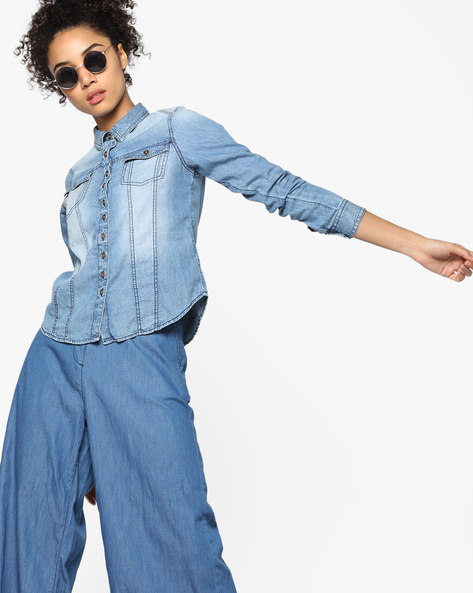 Lightly Washed Denim Shirt With Patch Pockets By Ginger By Lifestyle ( Blue )