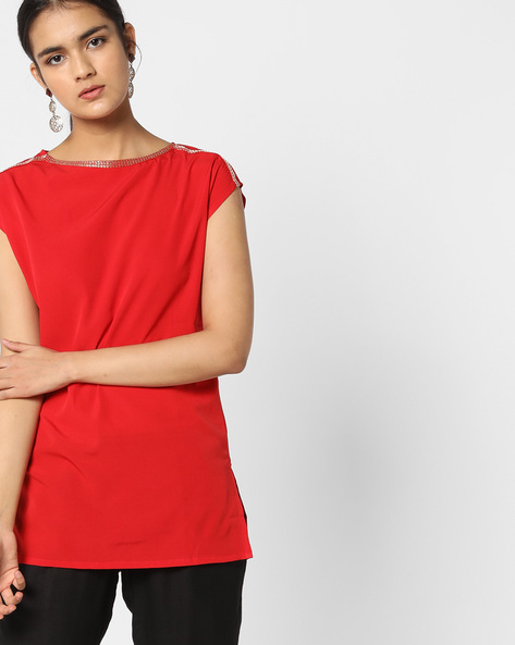Boat-Neck Top With Cap Sleeves By AJIO ( Red )