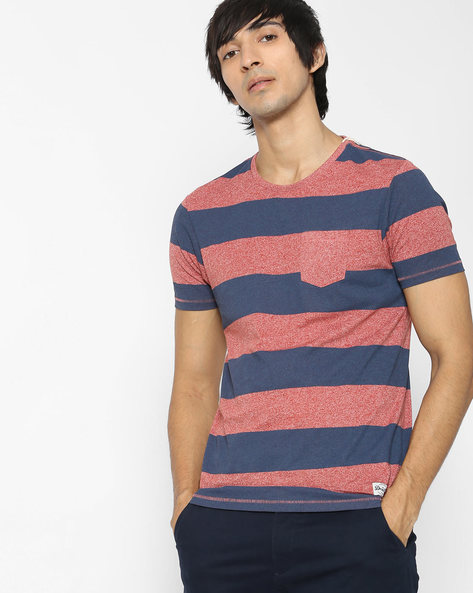 Striped T-shirt With Patch Pocket By FLYING MACHINE ( Assorted )