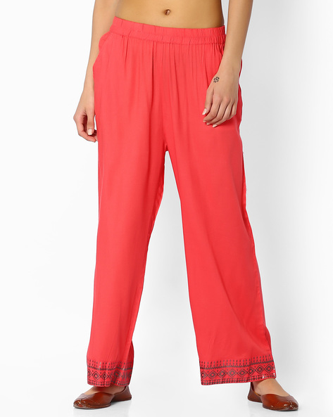 Mid-Rise Palazzos With Pockets By Melange By Lifestyle ( Coral )