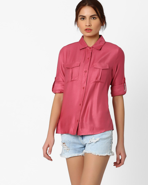 Shirt With Flap Pockets By AJIO ( Pink )
