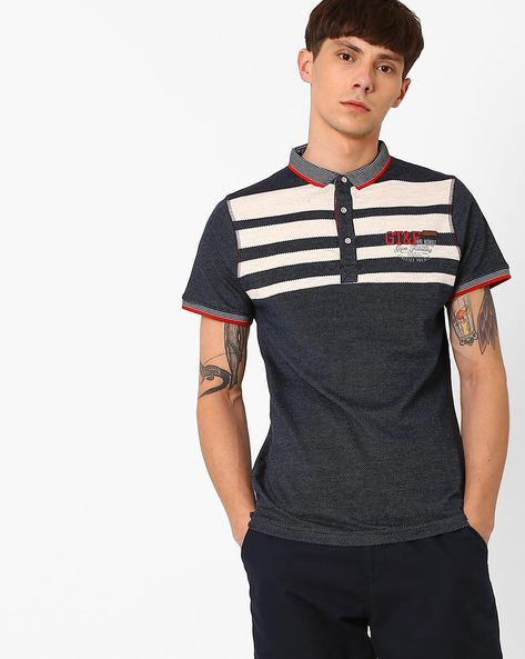 Polo T-shirt With Stripe-Tipped Hems By Fort Collins ( Navy )